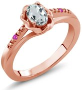 Gem Stone King 0.45 Ct Oval Sky Blue Aquamarine Pink Sapphire 18K Rose Gold Ring