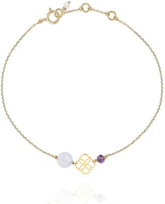Perle de Lune Daisy Gold Bracelet Blue Calcedony - 18k Gold
