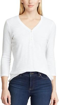 Chaps Women's 3/4 Sleeve Henley Top