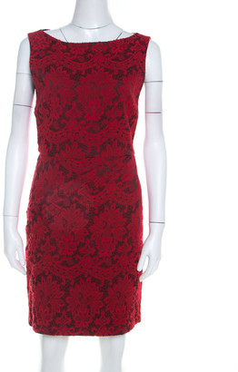 Alice + Olivia Red Floral Embroidered Sleeveless Sheath Dress M