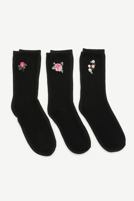 Ardene Crew Socks with Floral Embroidery