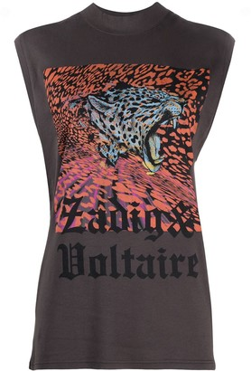 Zadig & Voltaire sleeveless tiger print T-shirt