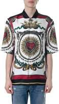 Dolce & Gabbana Cuore Sacro Print White & Red Silk Shirt