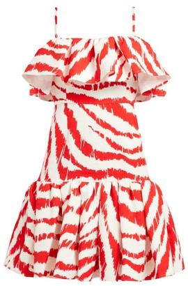 MSGM Zebra-print Ruffled Matelasse Dress - Red