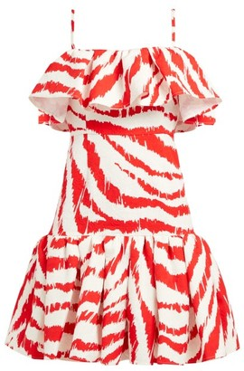 MSGM Zebra-print Ruffled Matelasse Dress - Womens - Red