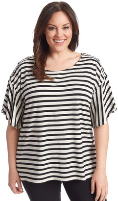 Plus Size 89th & Madison Drop Shoulder Flutter Sleeve Top