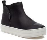 J/Slides Women's Casual boots BLACK - Black Cindy Leather Hi-Top Platform Sneaker - Women
