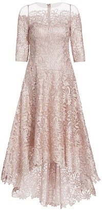 Teri Jon By Rickie Freeman Floral Lace A-Line Dress