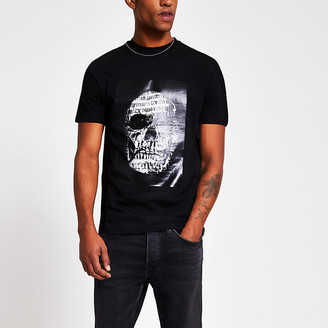 River Island Black skull printed slim fit T-shirt