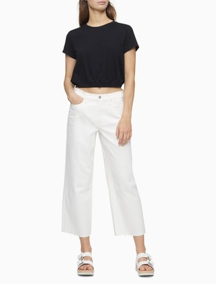 Calvin Klein Straight Fit High Rise Wide Leg Cropped Jeans