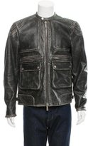 DSQUARED2 Distressed Leather Moto Jacket