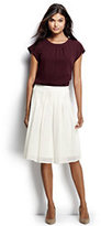 Lands' End Women's Petite Pleated Eyelet A-line Skirt-Classic Navy
