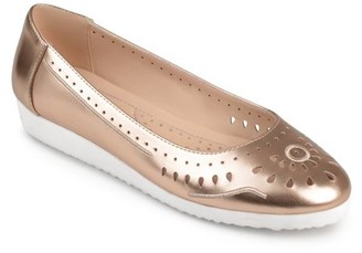 Brinley Co. Women's Faux Leather Laser-cut Comfort-sole Embroidered Lightweight Flats