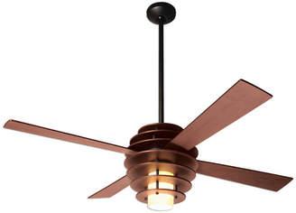 "Modern Fan Stella 17W LED Fan, Mahogany/Dark Bronze, 52"" Mahogany Blades"