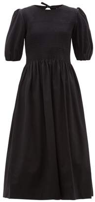 Molly Goddard Rory Shirred Cotton Midi Dress - Womens - Black