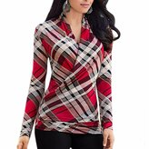 Paixpays Women Long Sleeve V Neck Grid Checked Printing Tops Blouse Slim Shirts