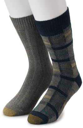Gold Toe Men's GOLDTOE Lodge Collection 2pk Recycled Plaid Crew