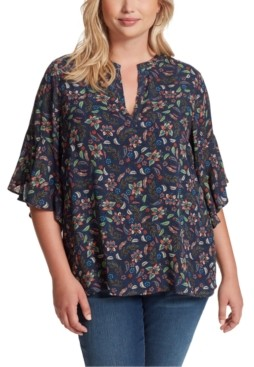 Jessica Simpson Trendy Plus Size Tulle Printed Top