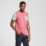 Mossimo Men's Short Sleeve Color Block Henley with Pocket Red