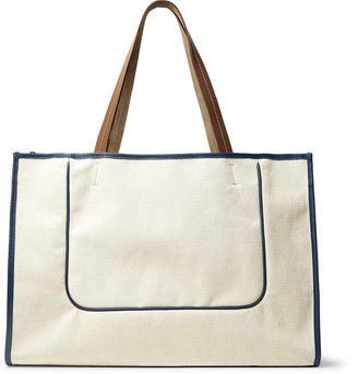 Connolly Leather-Trimmed Canvas Tote Bag