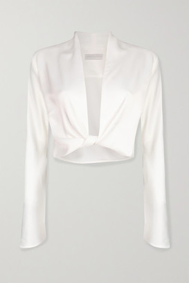 Vanessa Cocchiaro Herta Cropped Satin Wrap Top - White