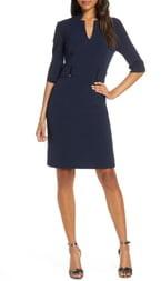 Tahari Inverted Notch Collar Stretch Crepe Sheath Dress