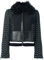Versace stitched sleeve jacket - women - Lamb Skin/Polyamide/Spandex/Elastane/Lamb Fur - 40
