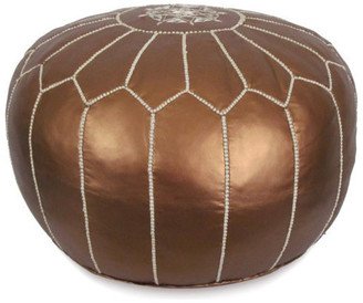 Ikram Design Moroccan Leather Stuffed Pouf, Matte Bronze