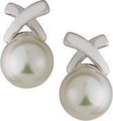 Majorica Rhodium-Plated Pearl X Stud Earrings, White