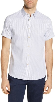 Ted Baker Windo Slim Fit Dobby Short Sleeve Button-Up Shirt