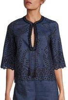 Yigal Azrouel Embroidered Denim Boxy Top