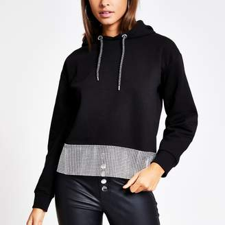 River Island Womens Black diamante chain trim long sleeve hoodie