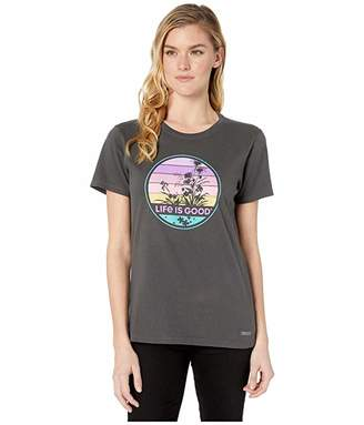 Life is Good Retro Wildflower Crushertm Tee (Night Black) Women's T Shirt