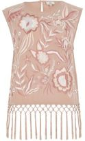 River Island Womens Light pink embroidered fringe top