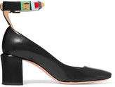 Fendi Embellished Leather Pumps - Black