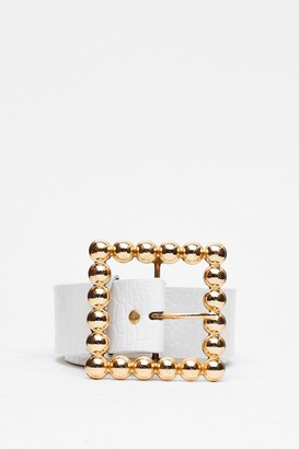 Nasty Gal Womens Square She is Faux Leather Oversized Belt - White