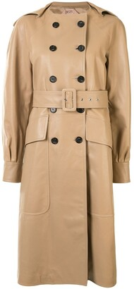 No.21 Double-Breasted Leather Coat