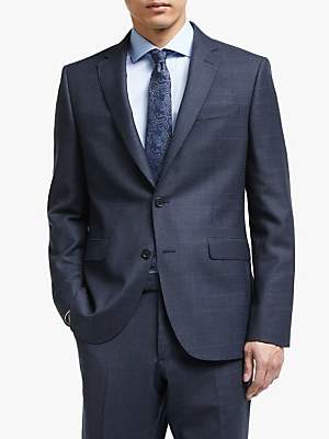 John Lewis & Partners Italian Zegna Wool Check Tailored Suit Jacket, Navy