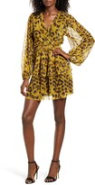 4SI3NNA the Label Leopard Print Tiered Ruffle Long Sleeve Metallic Dress