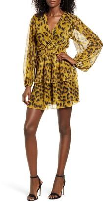4SI3NNA the Label Leopard Print Tiered Ruffle Long Sleeve Metallic Dress