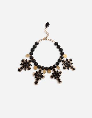 Dolce & Gabbana Rhinestone-Detailed Cross Necklace