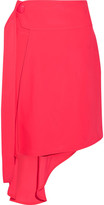 Marni Asymmetric Draped Twill Wrap Skirt - Bright pink