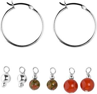 Carolyn Pollack Sterling Interchangeable Bead Hoop Earrings