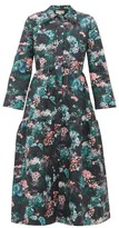 Beulah - Pallavi Forest Floral-jacquard Dropped-waist Coat - Womens - Green Multi