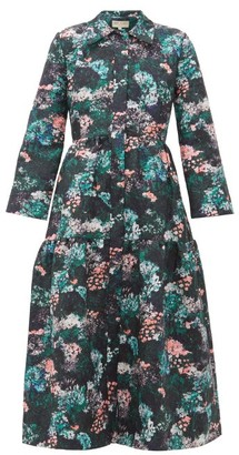 Beulah - Pallavi Forest Floral Jacquard Dropped Waist Coat - Womens - Green Multi