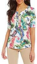 Investments Elbow Sleeve Zip-Front Printed Top