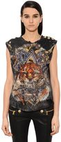 Balmain Destroyed Cotton Jersey Sleeveless Top