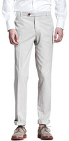 Brunello Cucinelli Lightweight Flat-Front Pants, Stone