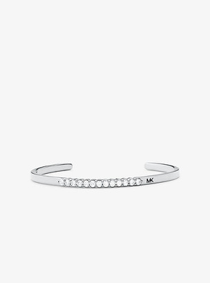 Michael Kors Precious Metal-Plated Sterling Silver Pave Oversized Nesting Cuff