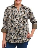 Foxcroft Plus Taylor Fitted Cotton Button-Down Blouse